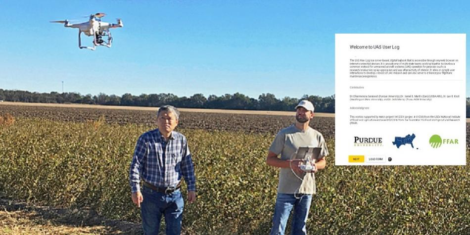 ARS agricultural engineer Yanbo Huang (left) and technician Ryan Poe use a drone to identify glyphosate-resistant weeds in a Mississippi soybean field. Photo by Daniel Fisher. ARS Image Gallery