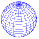 blue globe sphere with latitude and longitude lines around it