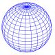 blue globe sphere with latitude and longitude lines around it