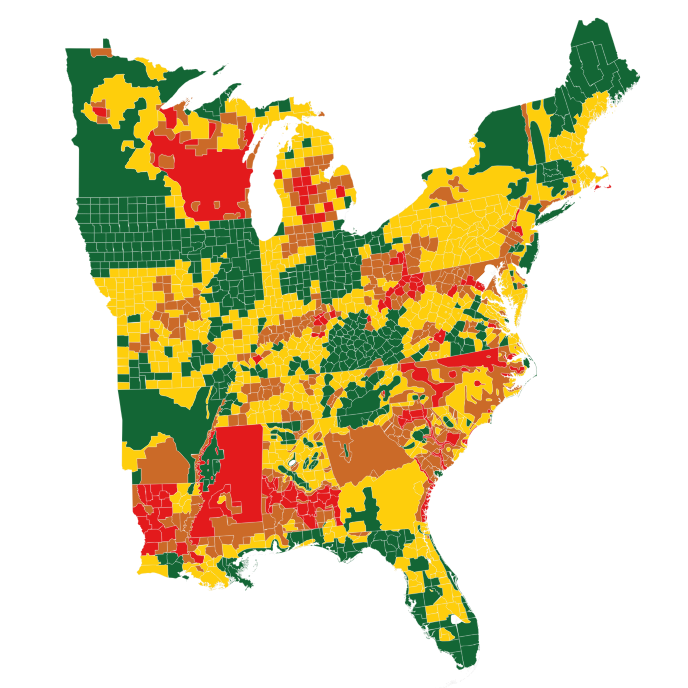 White tailed deer density estimates across the eastern United
